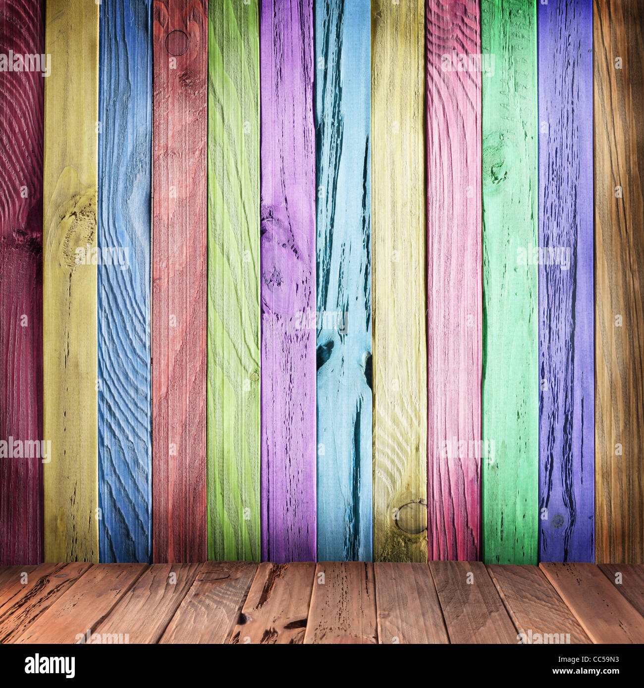 Multicolor wall of wooden planks. Vintage style. - Stock Image