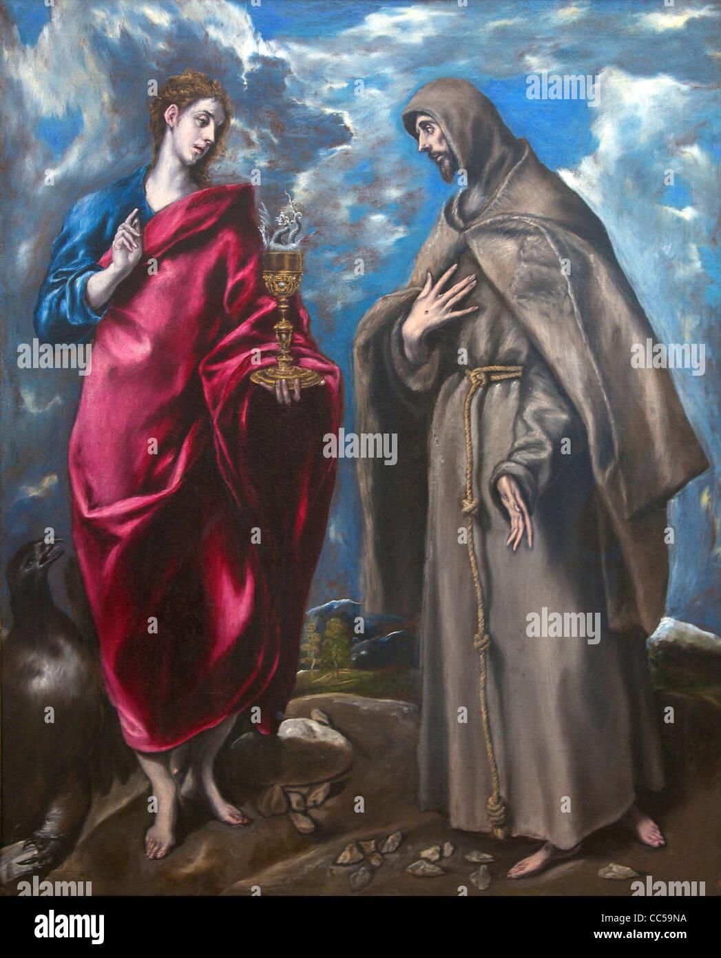 Saint John the Evangelist and Francis, by El Greco, Uffizi Gallery, Florence, Tuscany, Italy, Europe - Stock Image