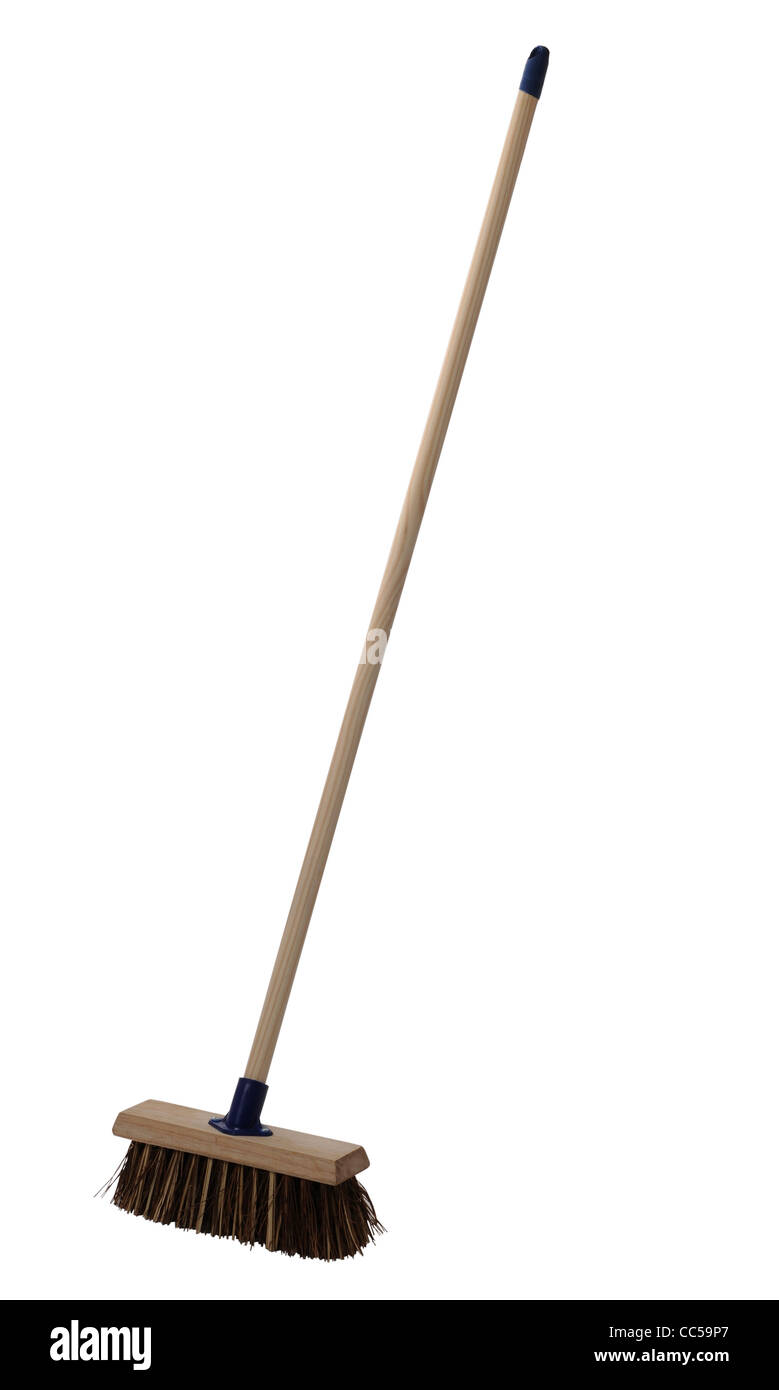 Broom, sweeping brush on white background Stock Photo