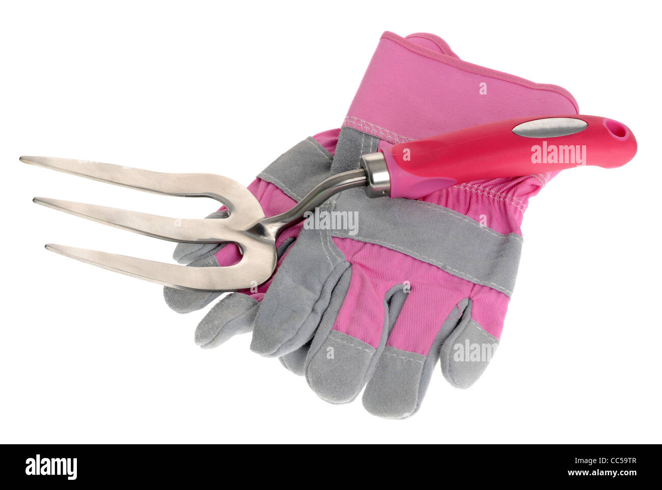 Pink gardening gloves and small gardening fork on a white background - Stock Image