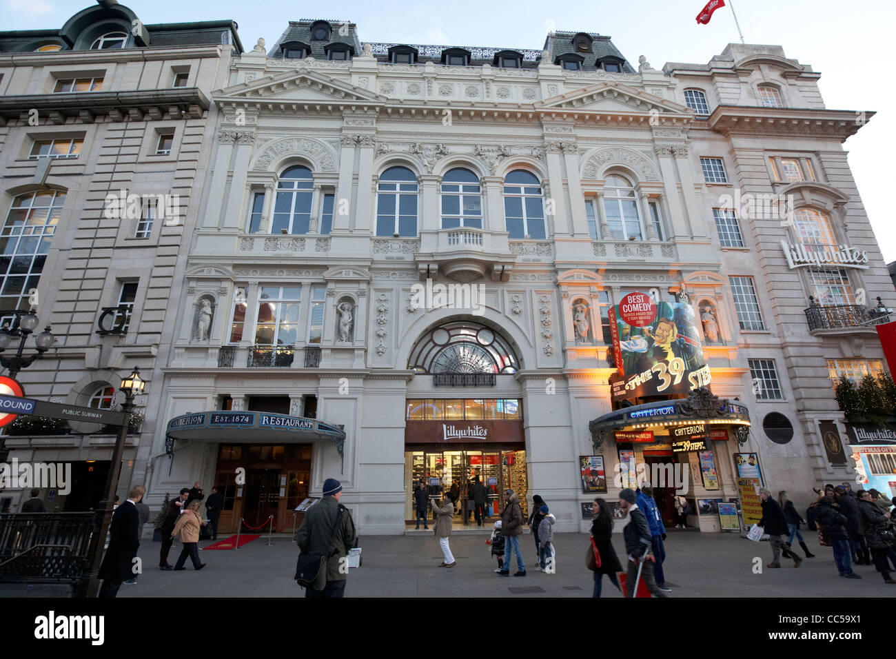 the criterion theatre and restaurant and lillywhites store in piccadilly circus central London England UK United - Stock Image