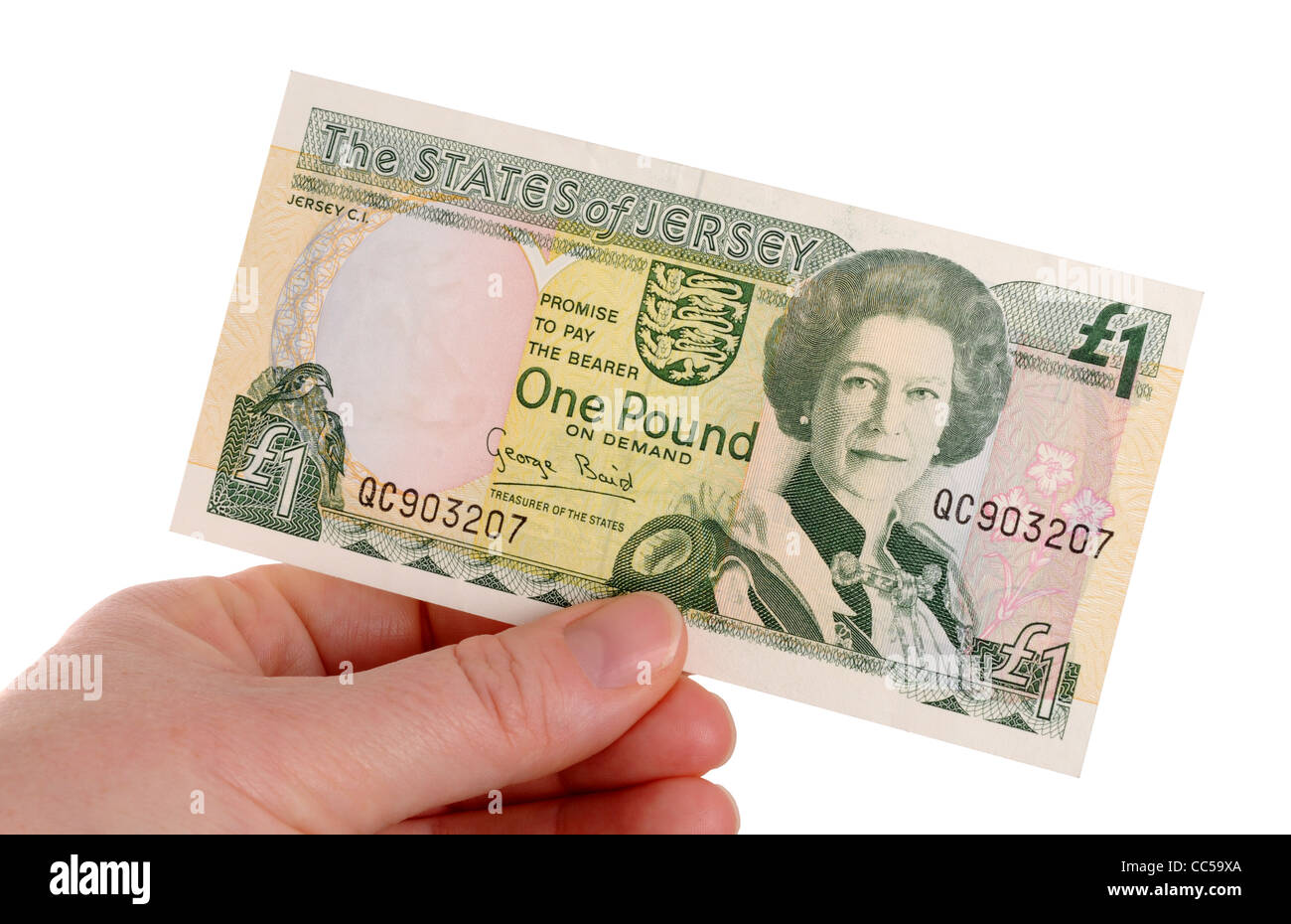 jersey one pound note on a white background stock photo 41914162