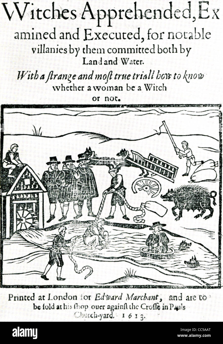 WITCHES APPREHENDED....Title page of a book on witchcraft published in 1613 - Stock Image