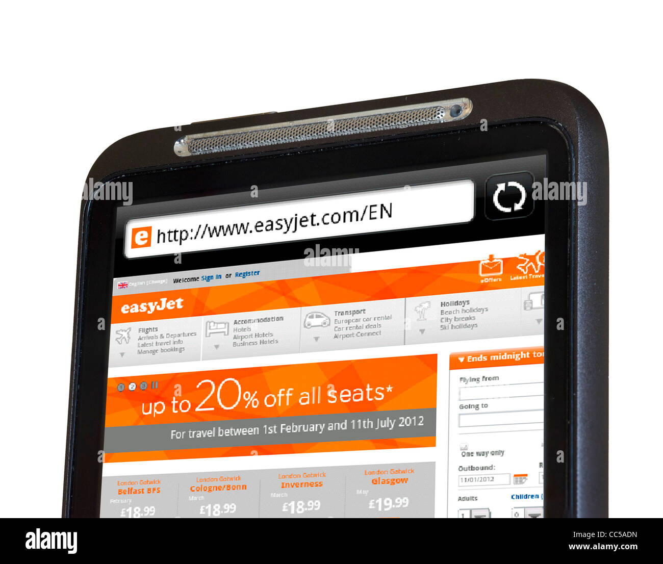 Browsing the EasyJet website on an HTC smartphone - Stock Image