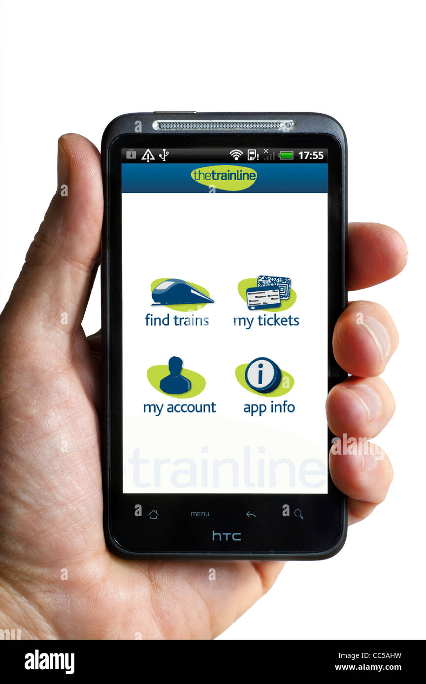 Booking train tickets on thetrainline.com app on an HTC smartphone - Stock Image