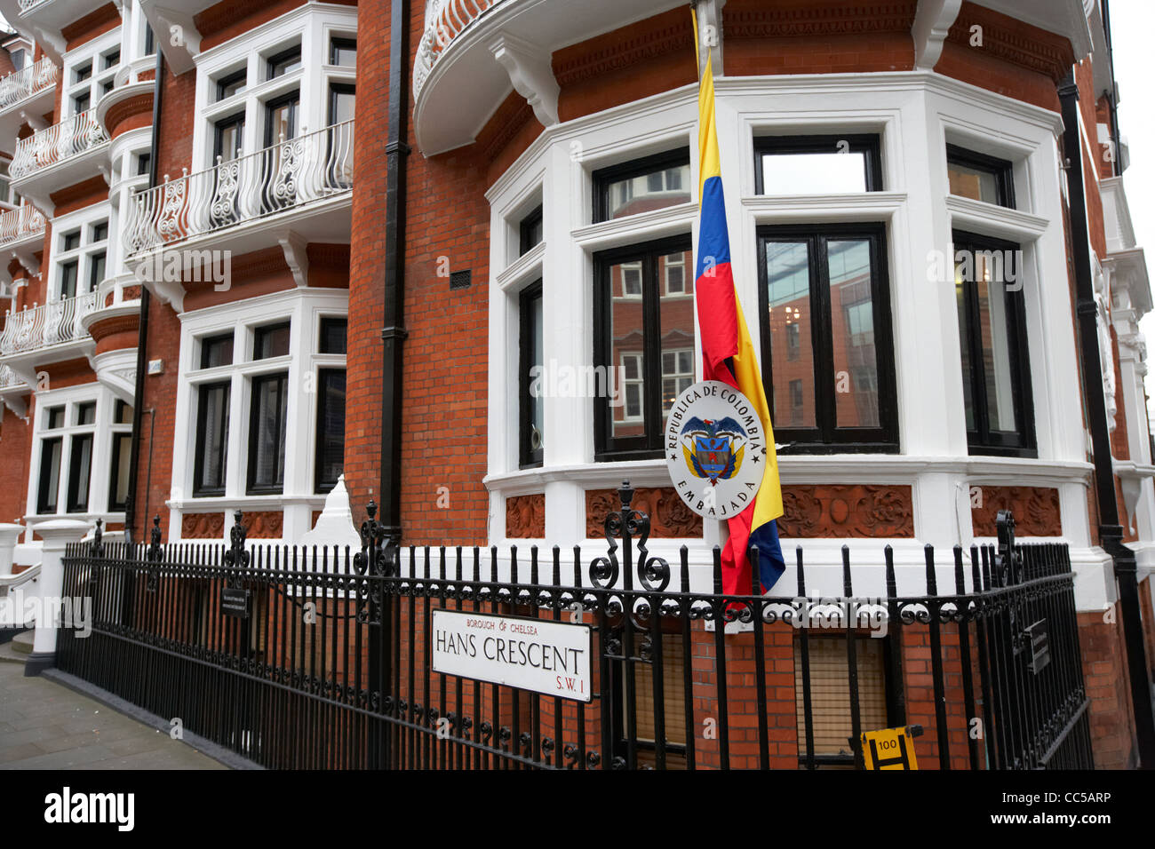 colombian embassy 3 hans crescent chelsea London England UK United kingdom ecuador ecuadorian embassy on 3rd floor - Stock Image