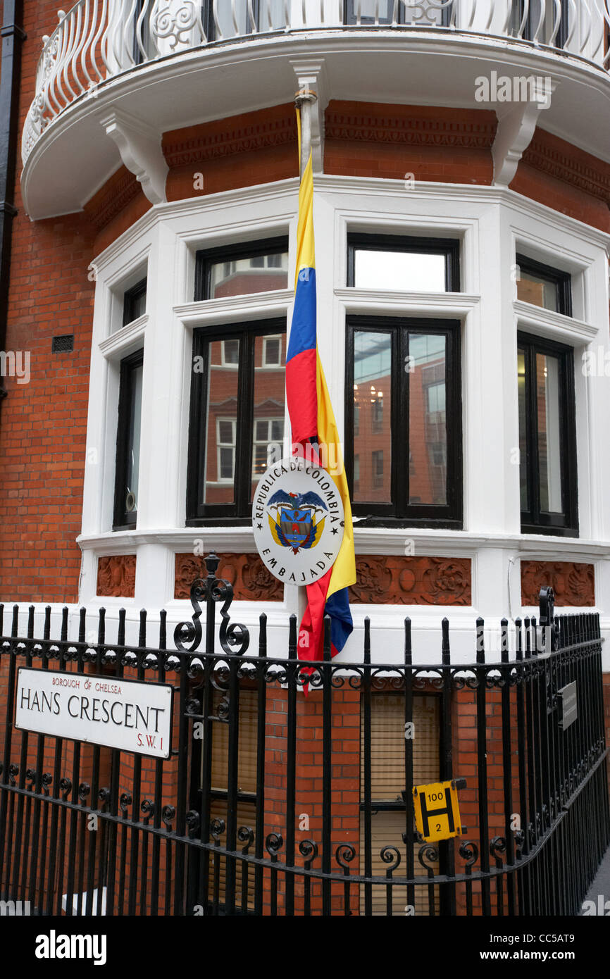 colombian embassy hans crescent chelsea London England UK United kingdom - Stock Image