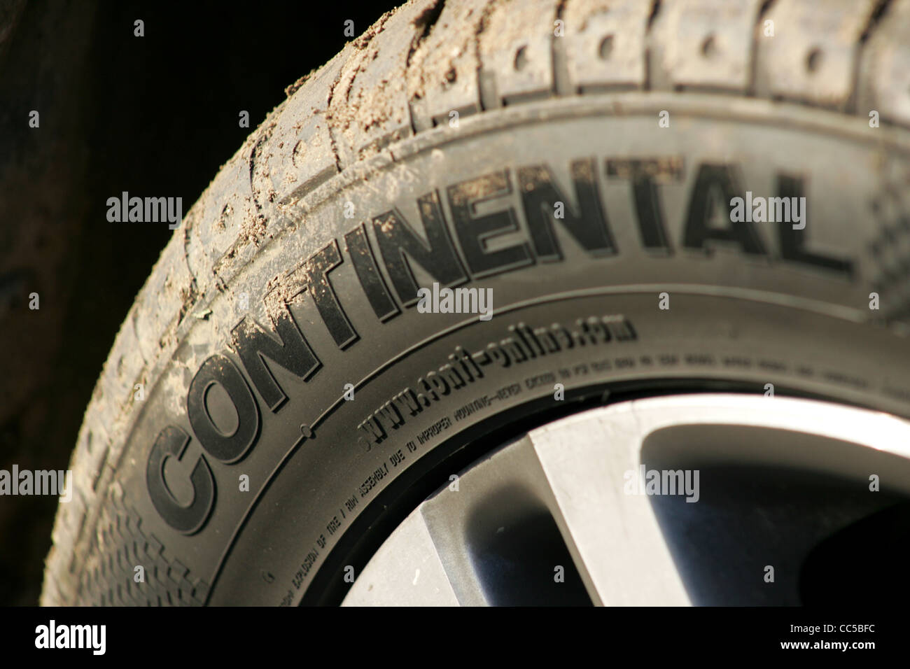 continental tyre on VW golf wheel - Stock Image