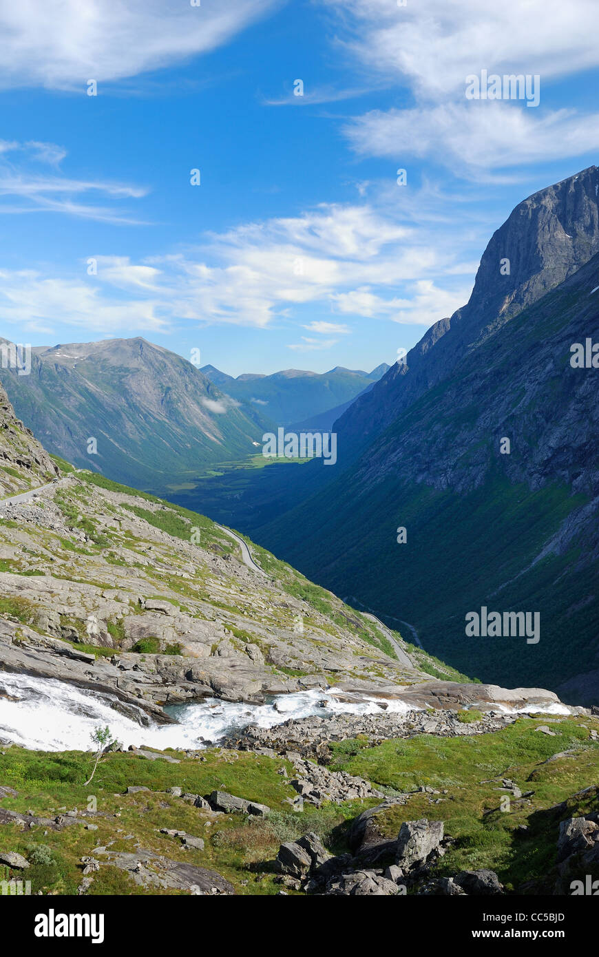 Serpentine road twisting on the mountain. Trollstigen. - Stock Image