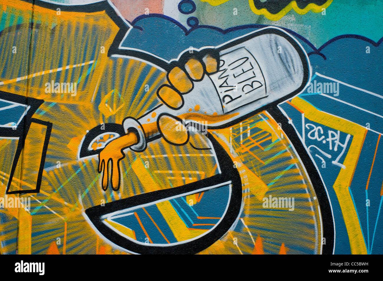 Paris, France, Graffiti Art Painting Wall, Drinking Alcohol Stock ...