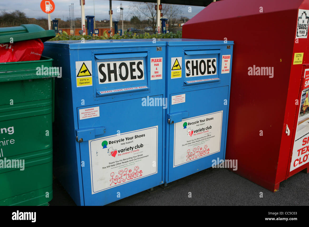 shoe recycling boxes at didcot sainsburys - Stock Image