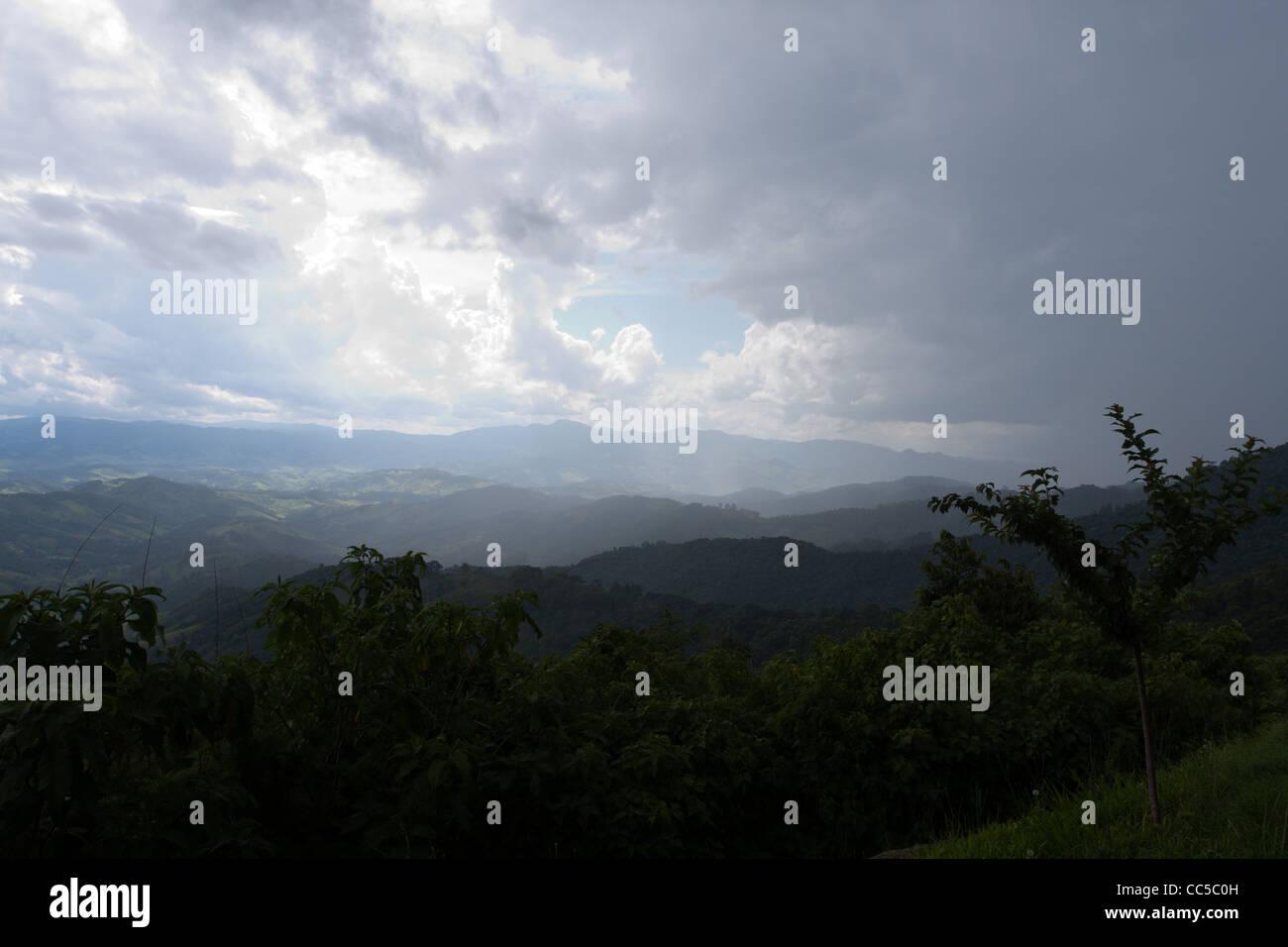 Serra da Mantiqueira (Mantiqueira Mountains), cloudy afternoon, viewed from Vista Chinesa, Campos do Jordao, State Stock Photo