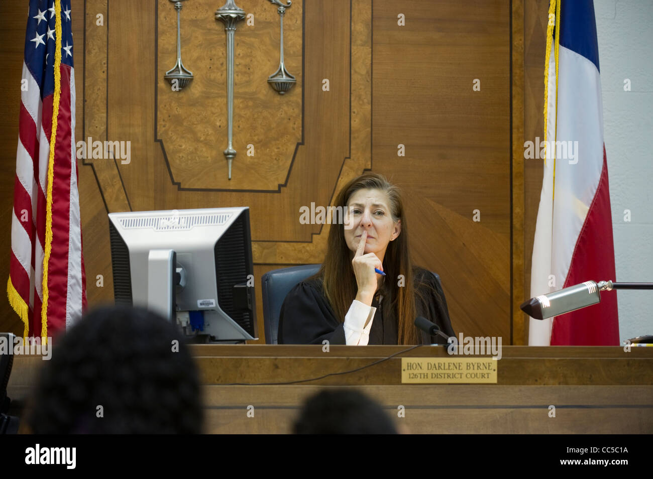 Family Court at Law Justice Darlene Byrne handles routine child custody cases in her courtroom Austin Texas - Stock Image