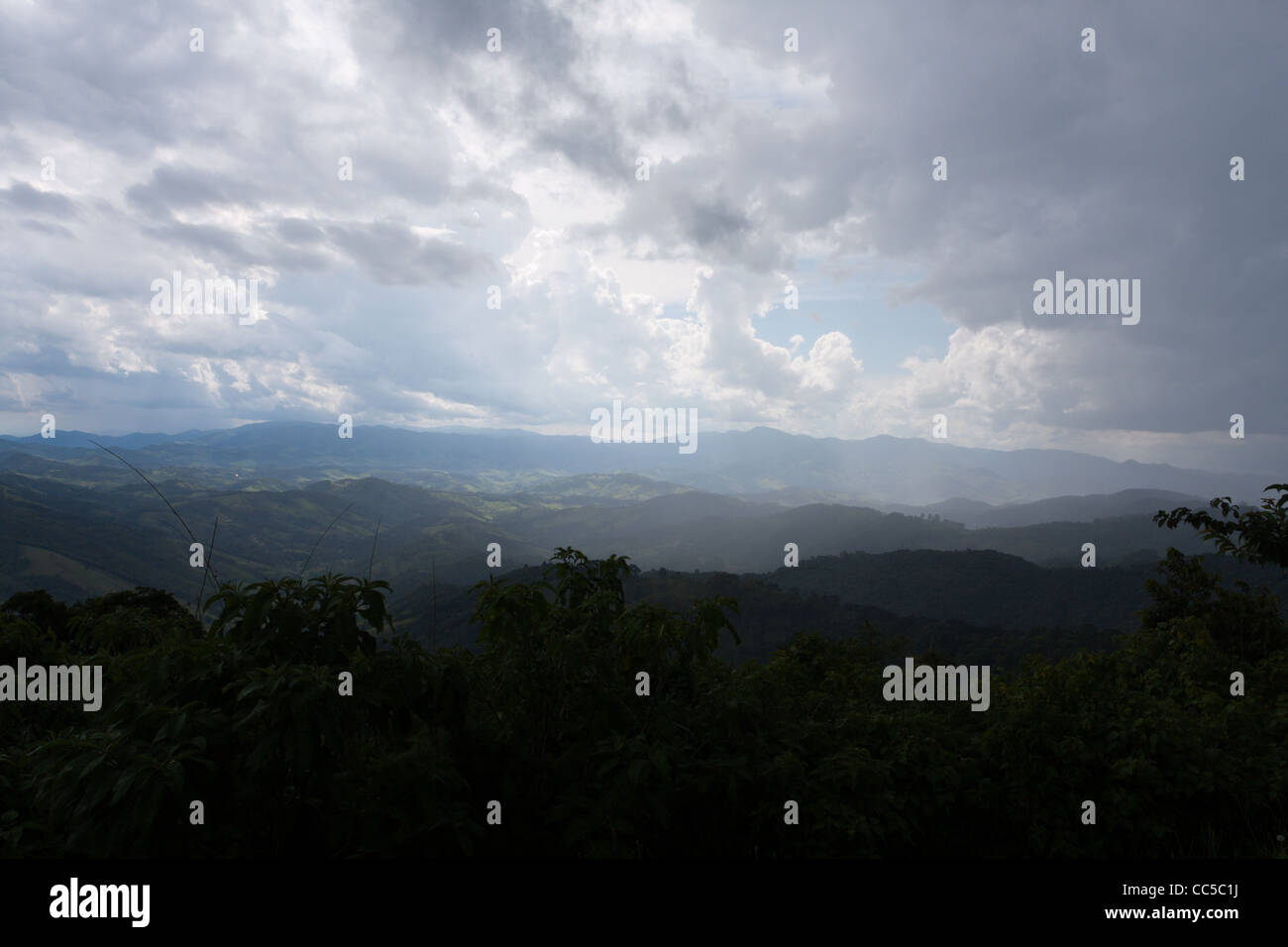 Serra da Mantiqueira (Mantiqueira Mountains), cloudy afternoon, viewed from Vista Chinesa, Campos do Jordao, State Stock Photo