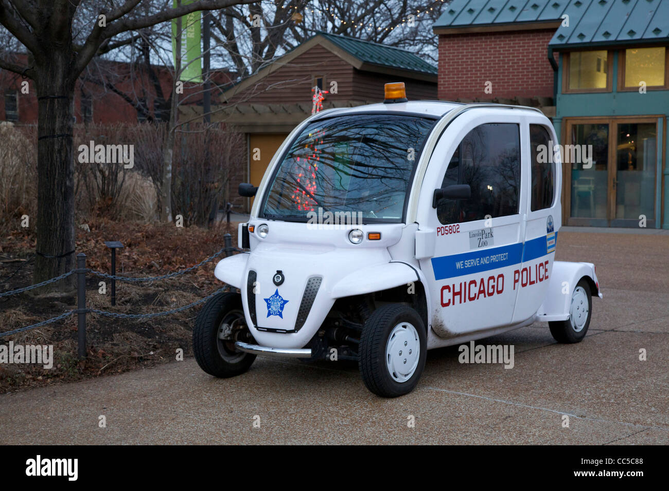 Chicago Police Electric Car For Use At Lincoln Park Zoo Stock Photo