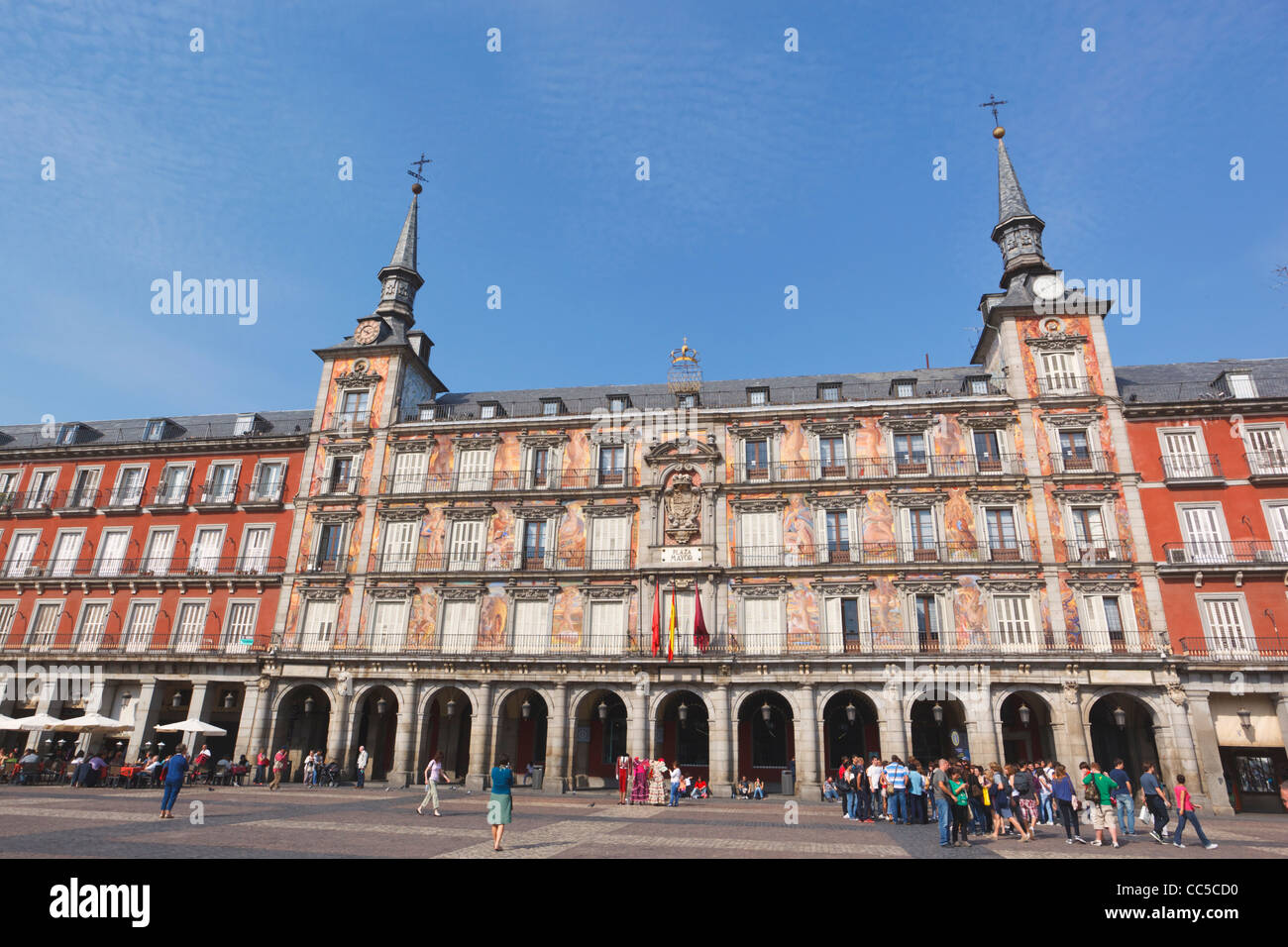 Madrid, Spain. Plaza Mayor. Murals on facade. - Stock Image