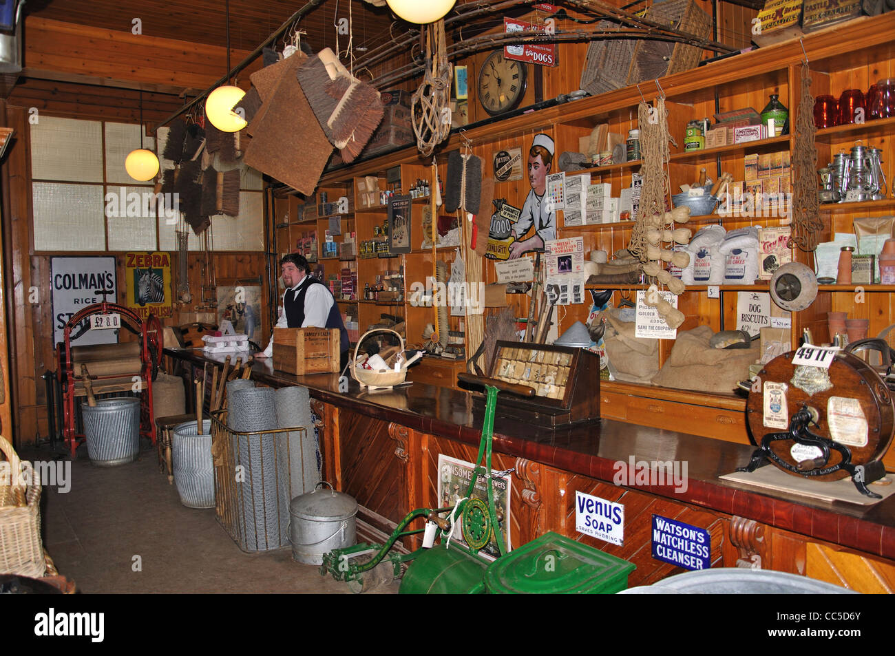 General store in Edwardian Town, Beamish, The North of England Open Air Museum, County Durham, England, United Kingdom - Stock Image