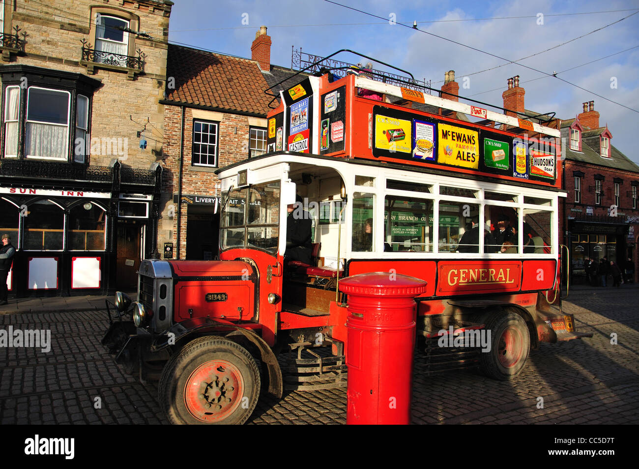 Replica bus in Edwardian Town, Beamish, The North of England Open Air Museum, nr Stanley, County Durham, England, - Stock Image