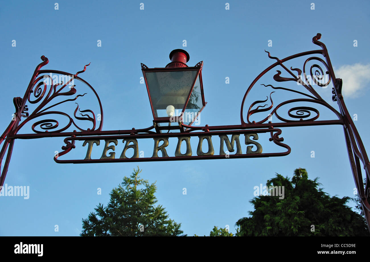 Wrought iron sign for tearooms in Beamish, The North of England Open Air Museum, County Durham, England, United - Stock Image