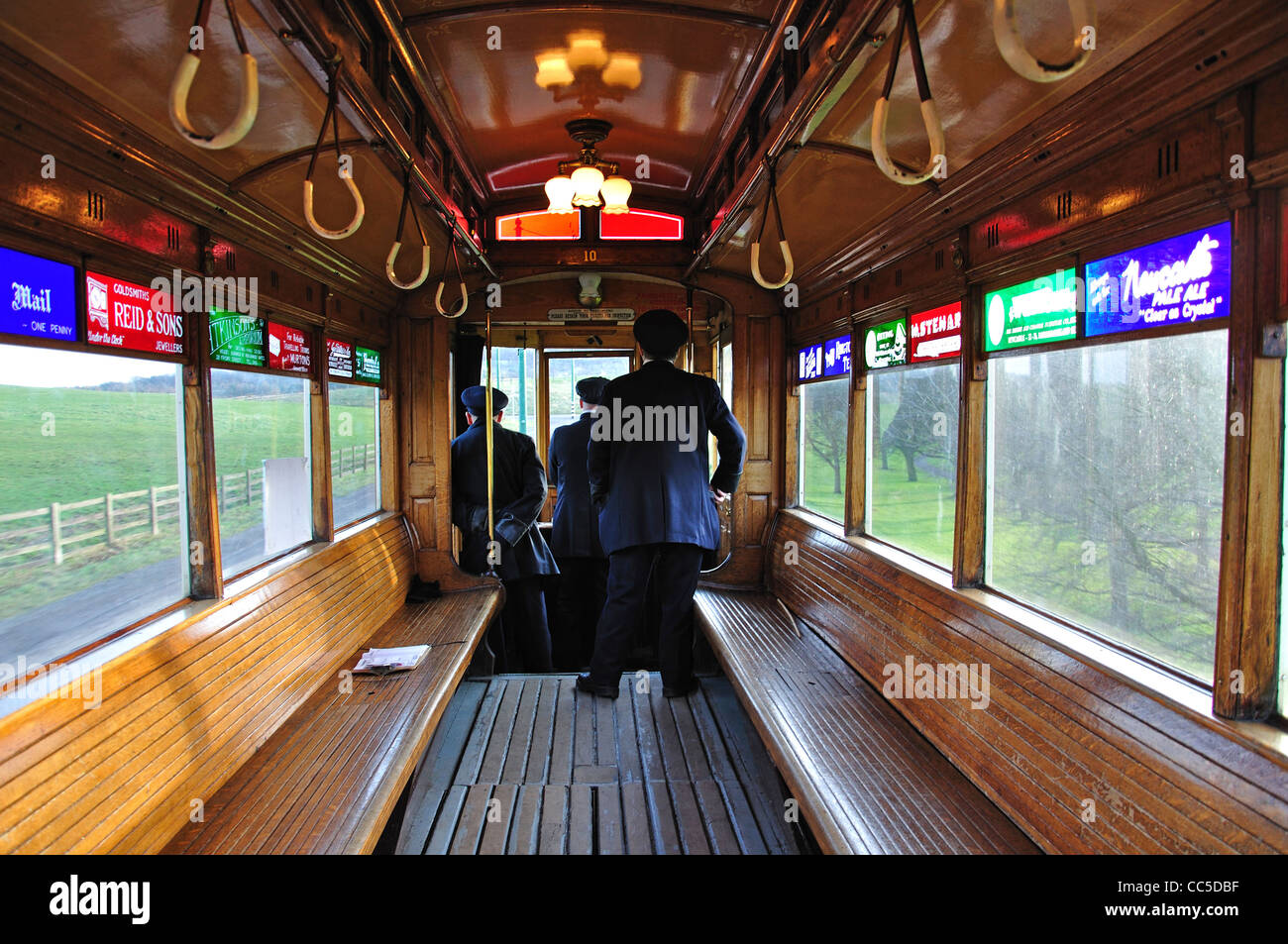 Interior of tram at Beamish, The North of England Open Air Museum, near Stanley, County Durham, England, United - Stock Image