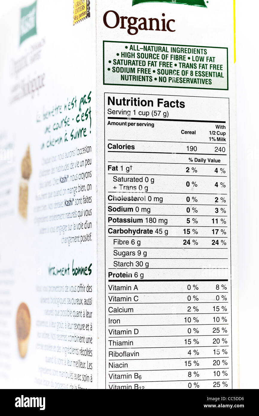 Organic cereal box, nutrition label, close up - Stock Image