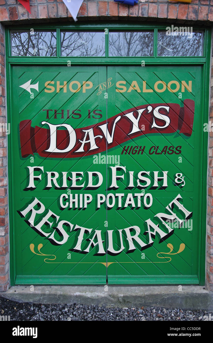 Davy's Fish Restaurant sign, Beamish, The North of England Open Air Museum, near Stanley, County Durham, England, - Stock Image