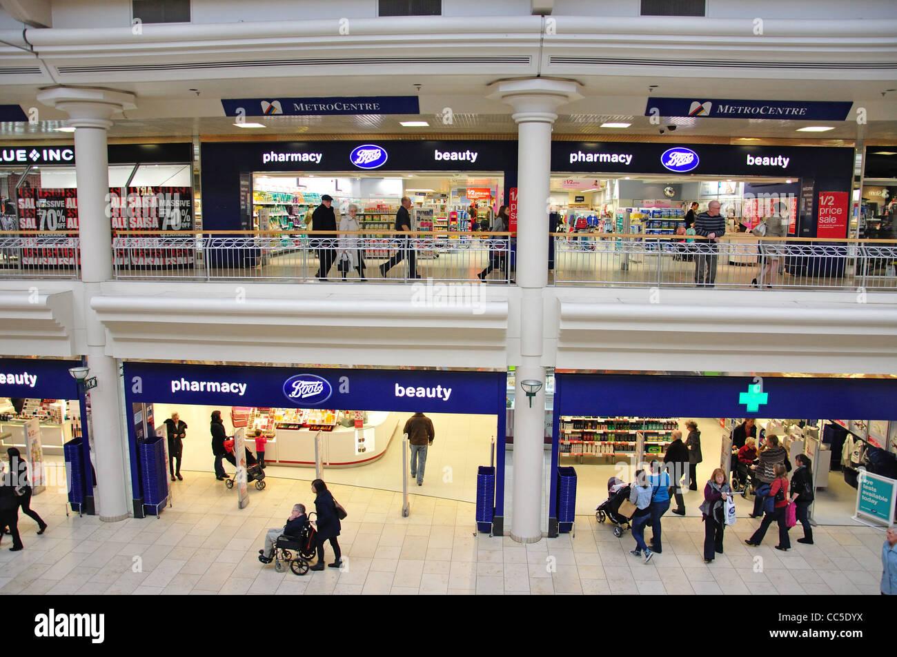 'Boots UK Limited' chemist at Metro Shopping Centre, Gateshead, Tyne and Wear, England, United Kingdom - Stock Image