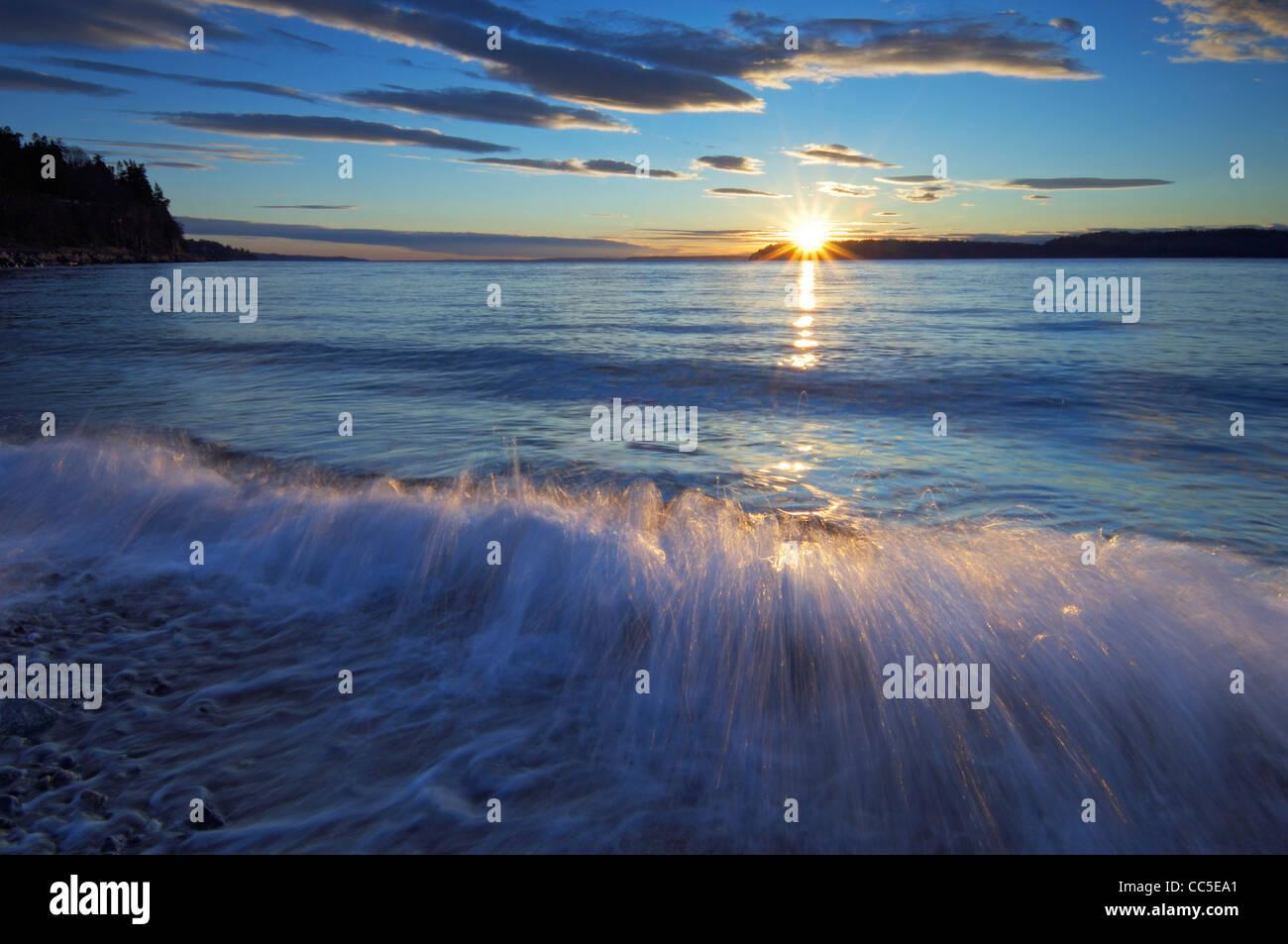 Sunset over Puget Sound at Mukilteo, Washington, USA - Stock Image
