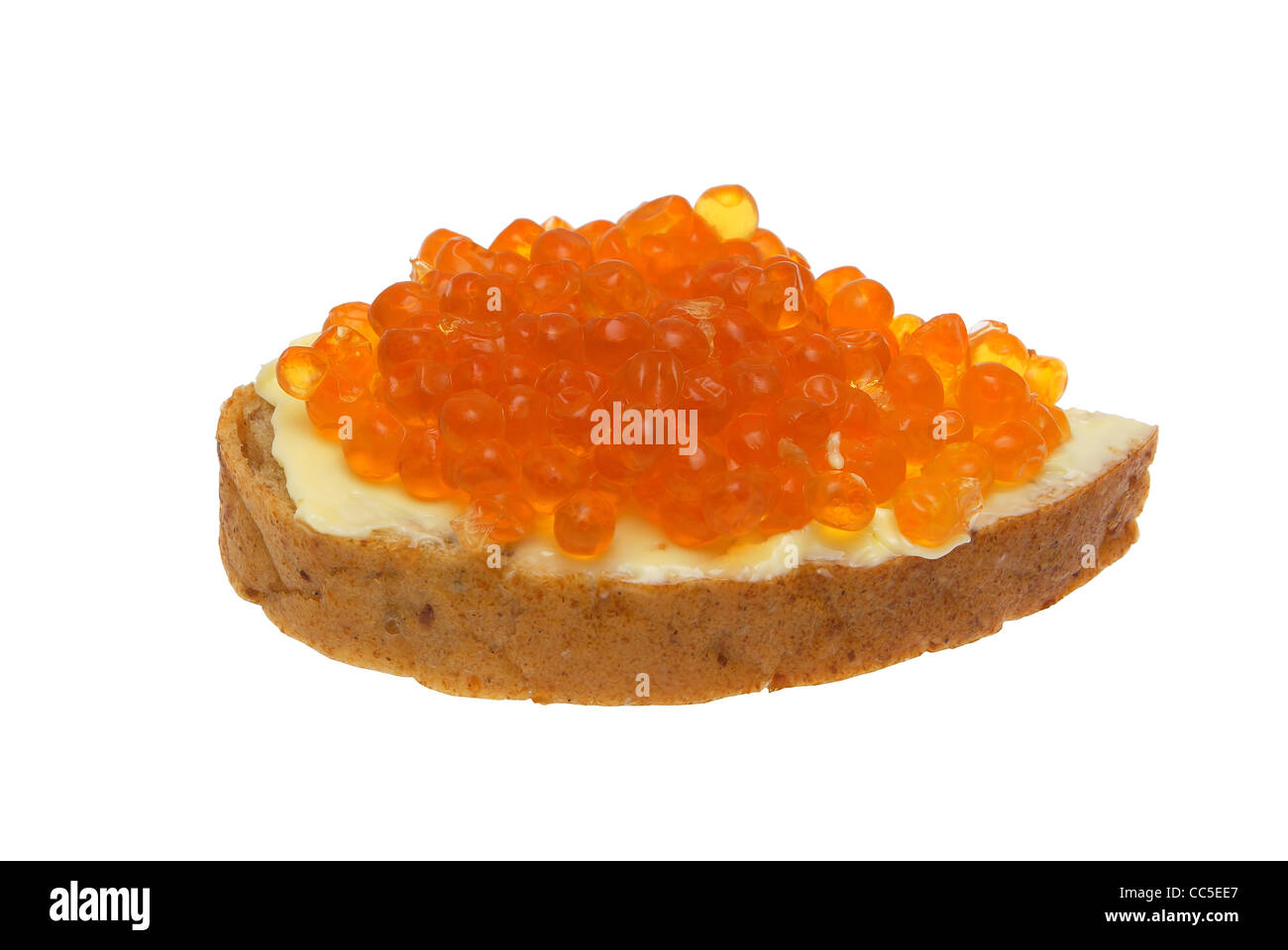 Sandwich with red caviar. - Stock Image