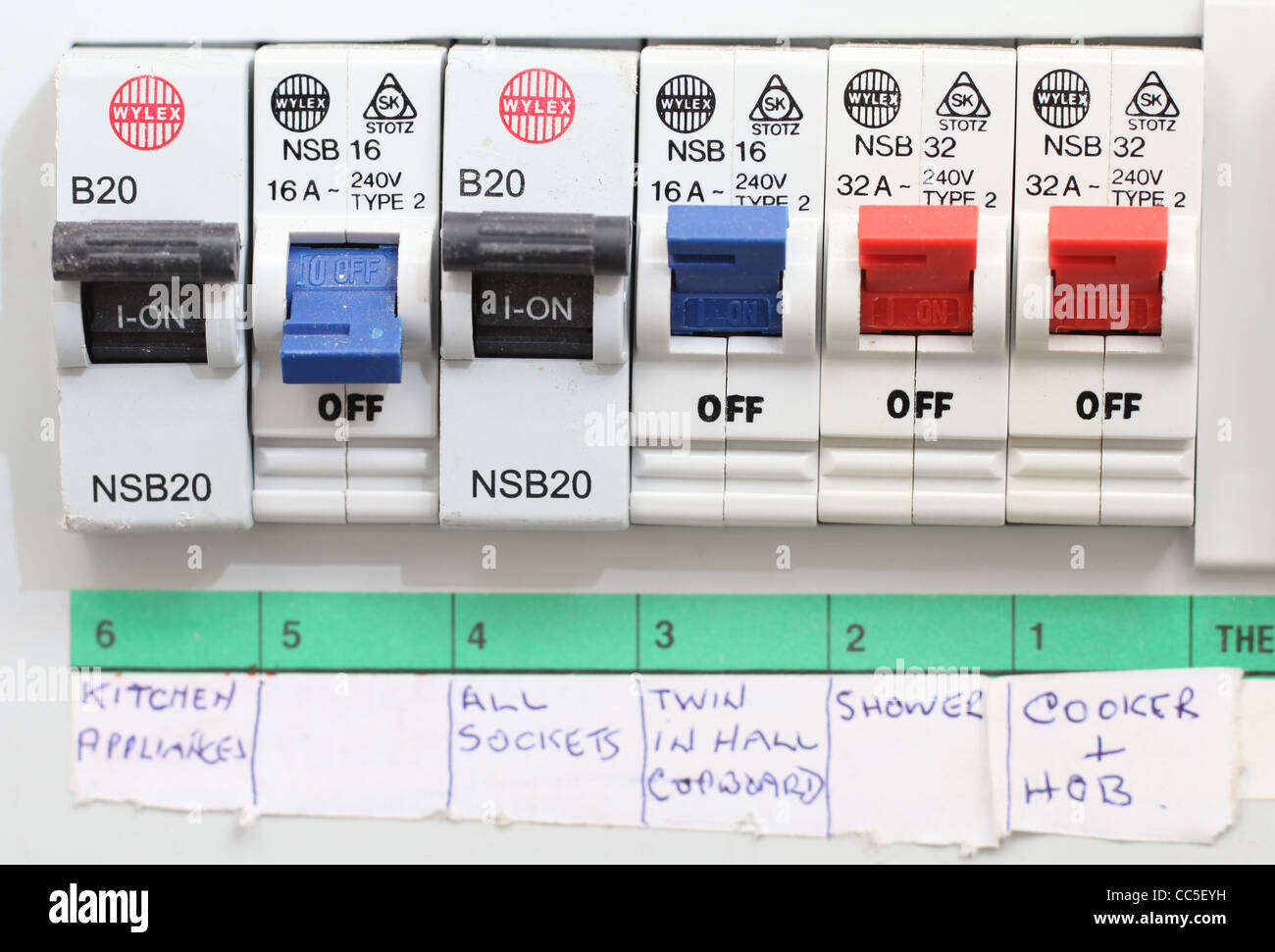 close up of a domestic electrical fuse box on off switch picture by rh alamy com fuse box switch with two fuses for a dryer fuse box switch won't reset