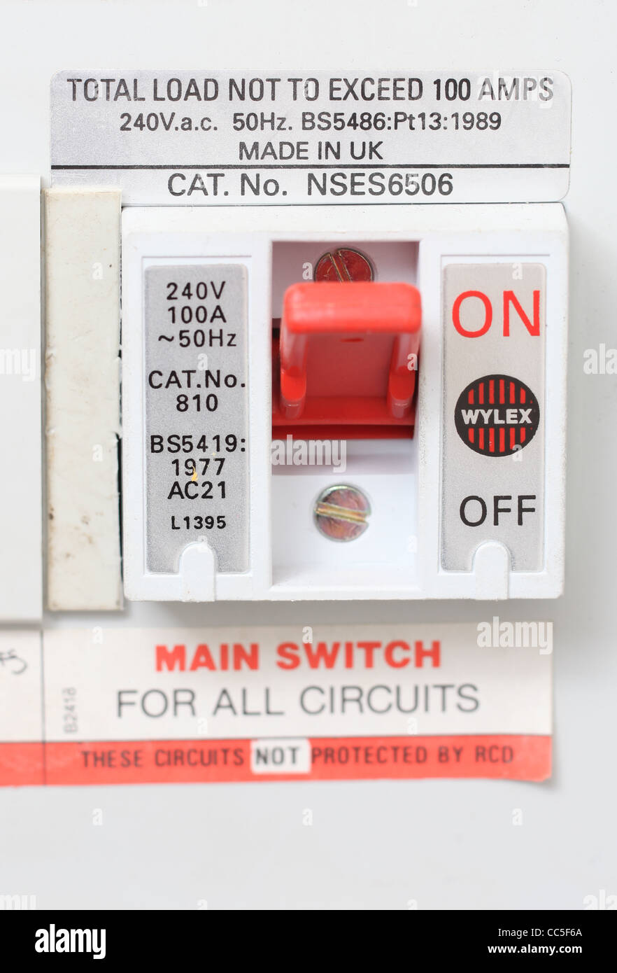Close up of a domestic electrical fuse box on off switch. Picture by on electrical panel box, electrical power box, electrical box cut out, electrical wiring details, electrical valve box, wiring a 3 gang switch box, electrical box diagram, electrical fuses small to largest, electrical wiring box, circuit breaker box, solid state relay box, main electrical box, electrical power cable, electrical safety signs, 3 to 4 electrical box, electrical switch box, electrical inductor box, electrical chassis control module, electrical extension cord box, electrical distribution box,