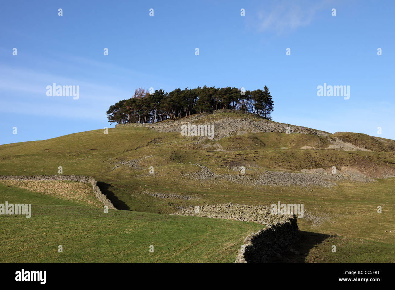 The Ancient Hilltop Tumulus of Kirkcarrion in Lunedale Teesdale County Durham UK - Stock Image