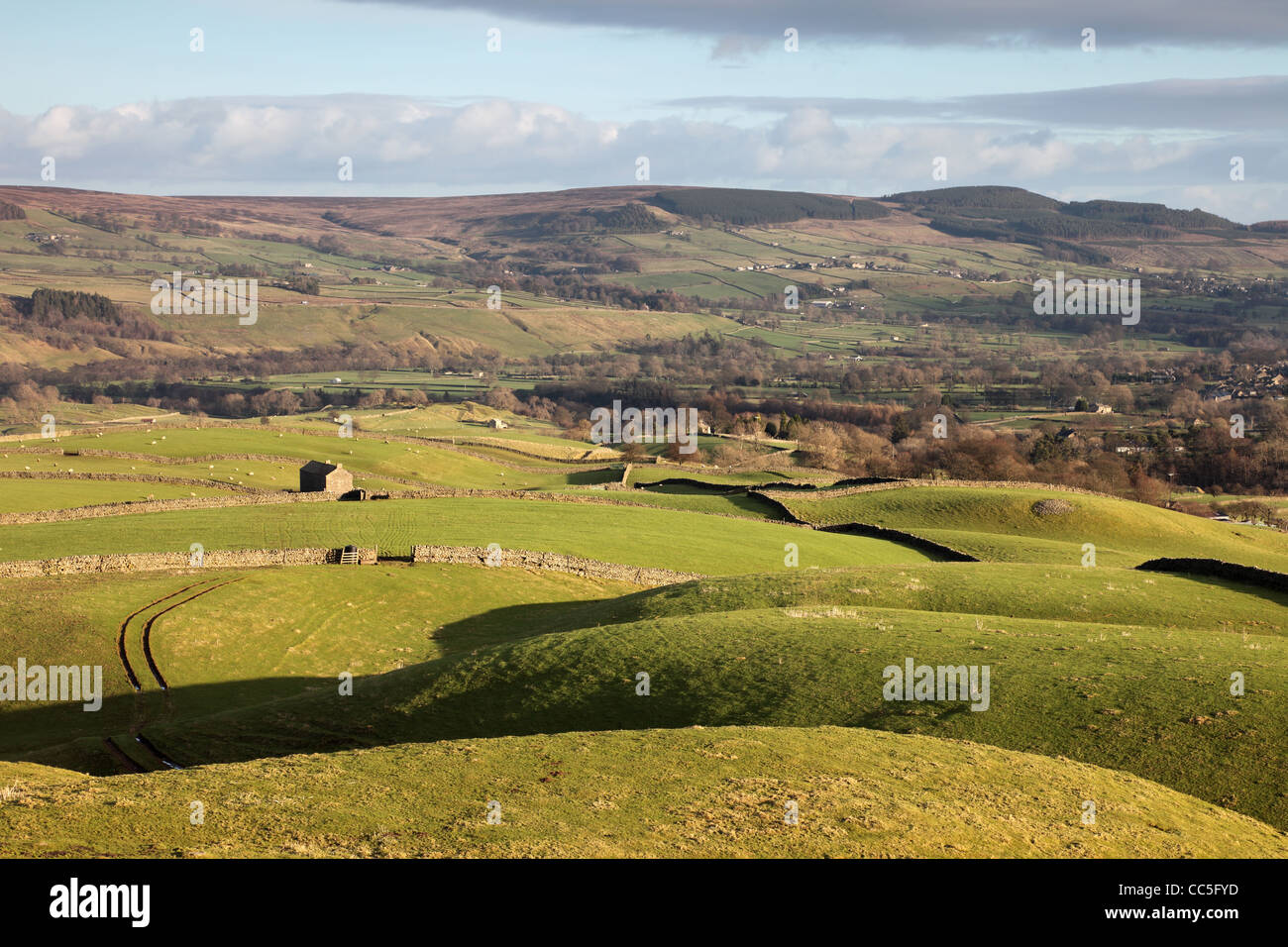 The View from the Ancient Hilltop Tumulus of Kirkcarrion Across the Tees Valley Towards Eggleston Common Teesdale Stock Photo