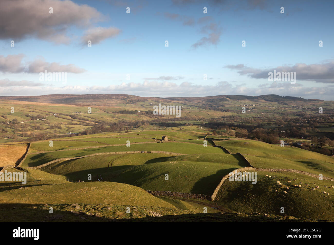 The View from the Ancient Hilltop Tumulus of Kirkcarrion Across the Tees Valley Towards Eggleston Common Teesdale - Stock Image