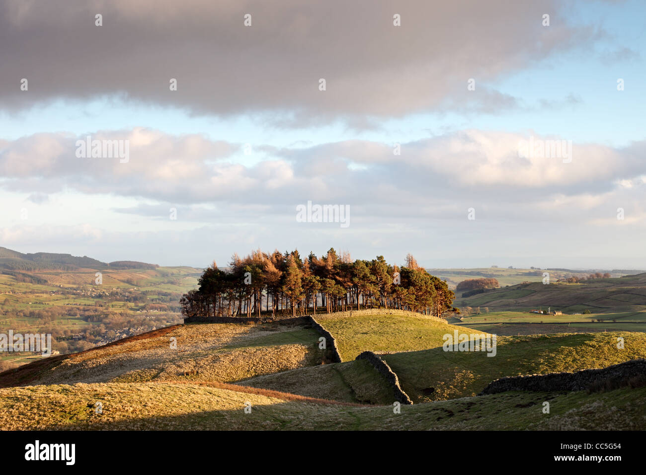 The Ancient Hilltop Tumulus of Kirkcarrion in Lunedale and the View North East Across the Tees Valley Teesdale County - Stock Image