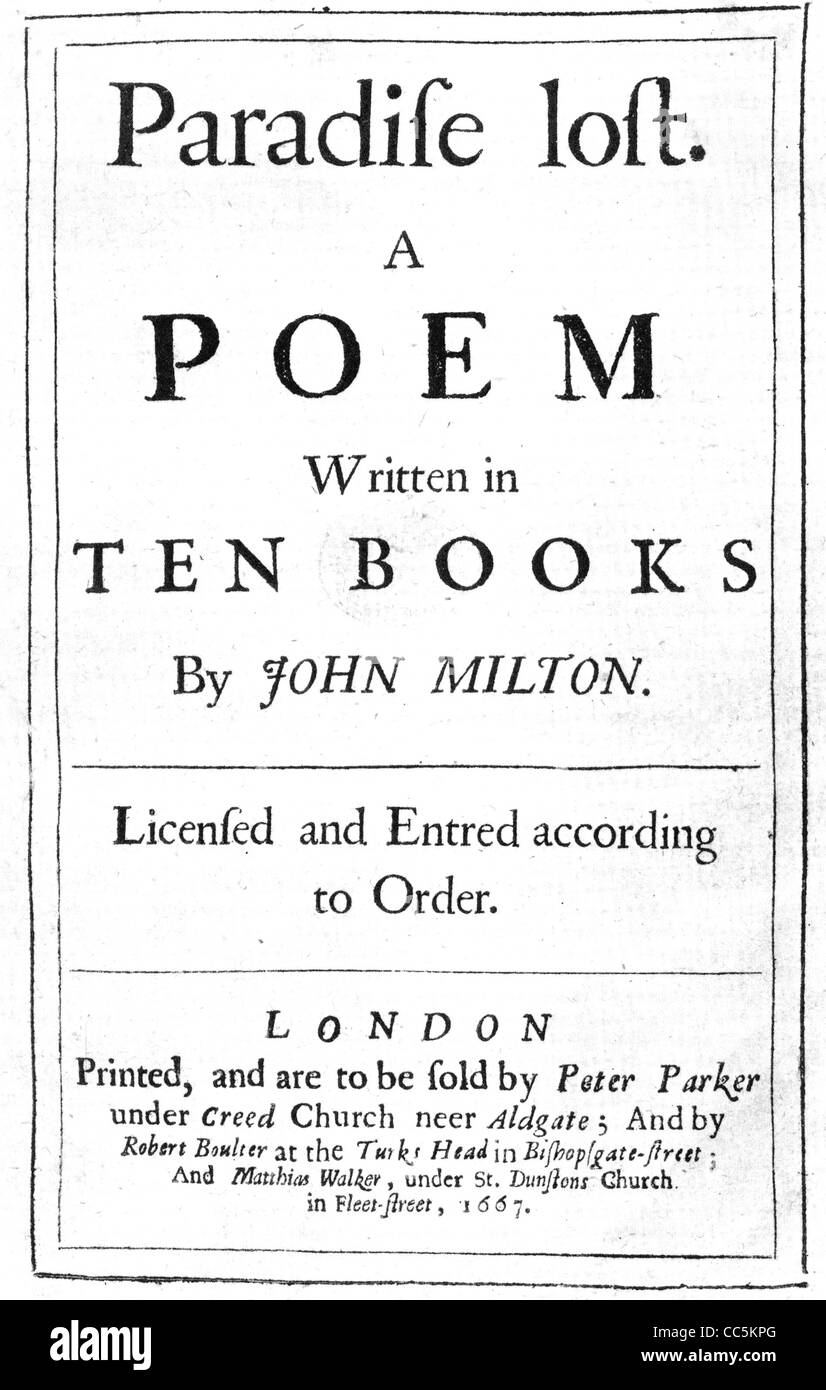 PARADISE LOST Tilte page of the first edition of Milton's poem pubkished in 1667 - Stock Image