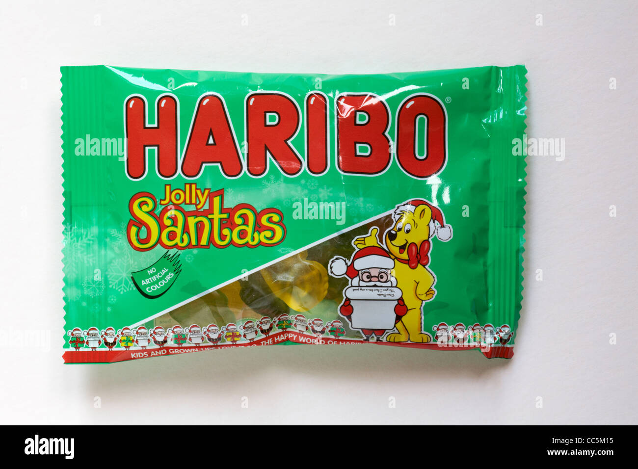 packet of Haribo Jolly Santas sweets isolated on white background - Stock Image