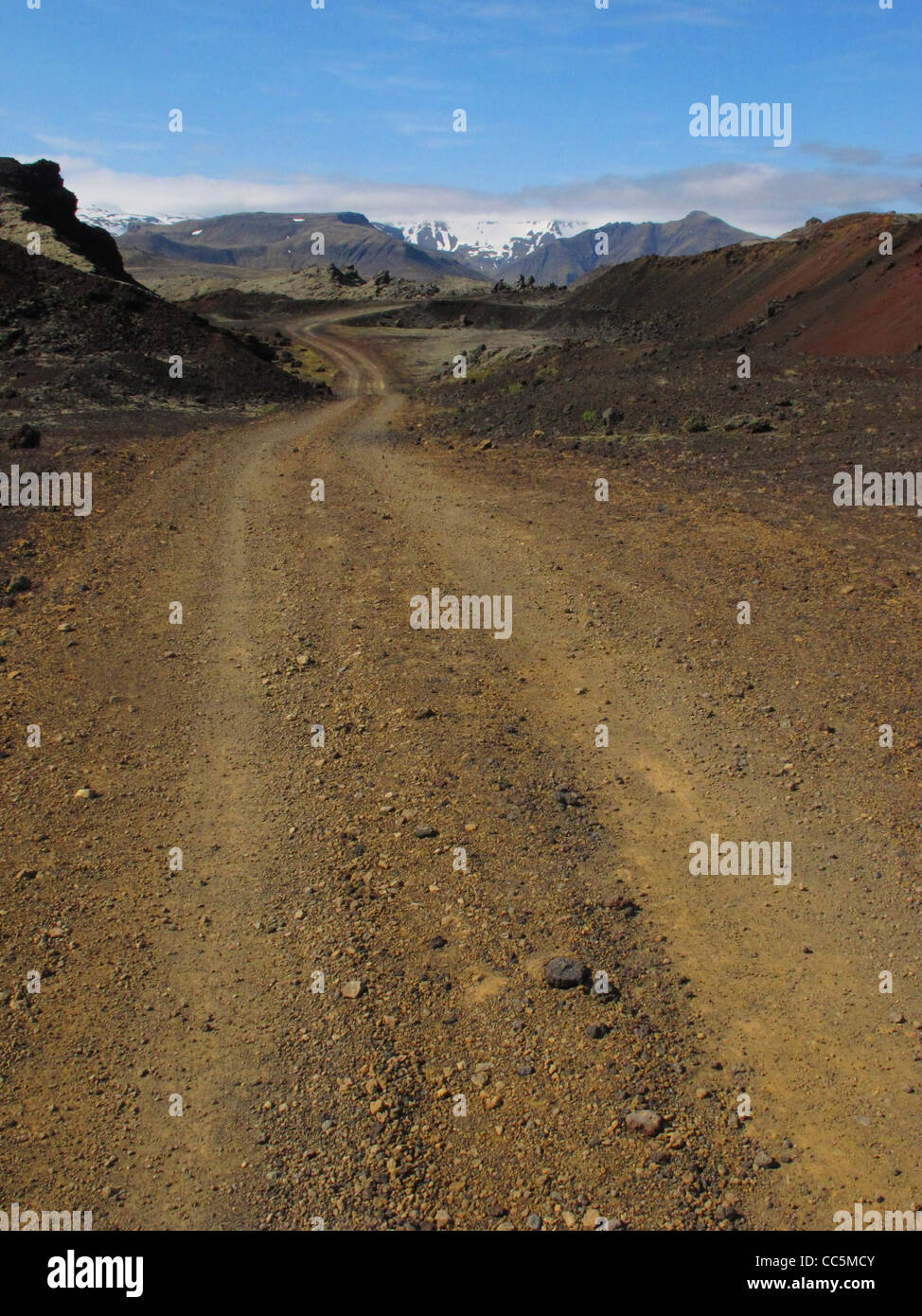 Gravel road 558 to the Berserkjahraun lava field. Between Grundafjordur and Stykkisholmur. Western Iceland. - Stock Image