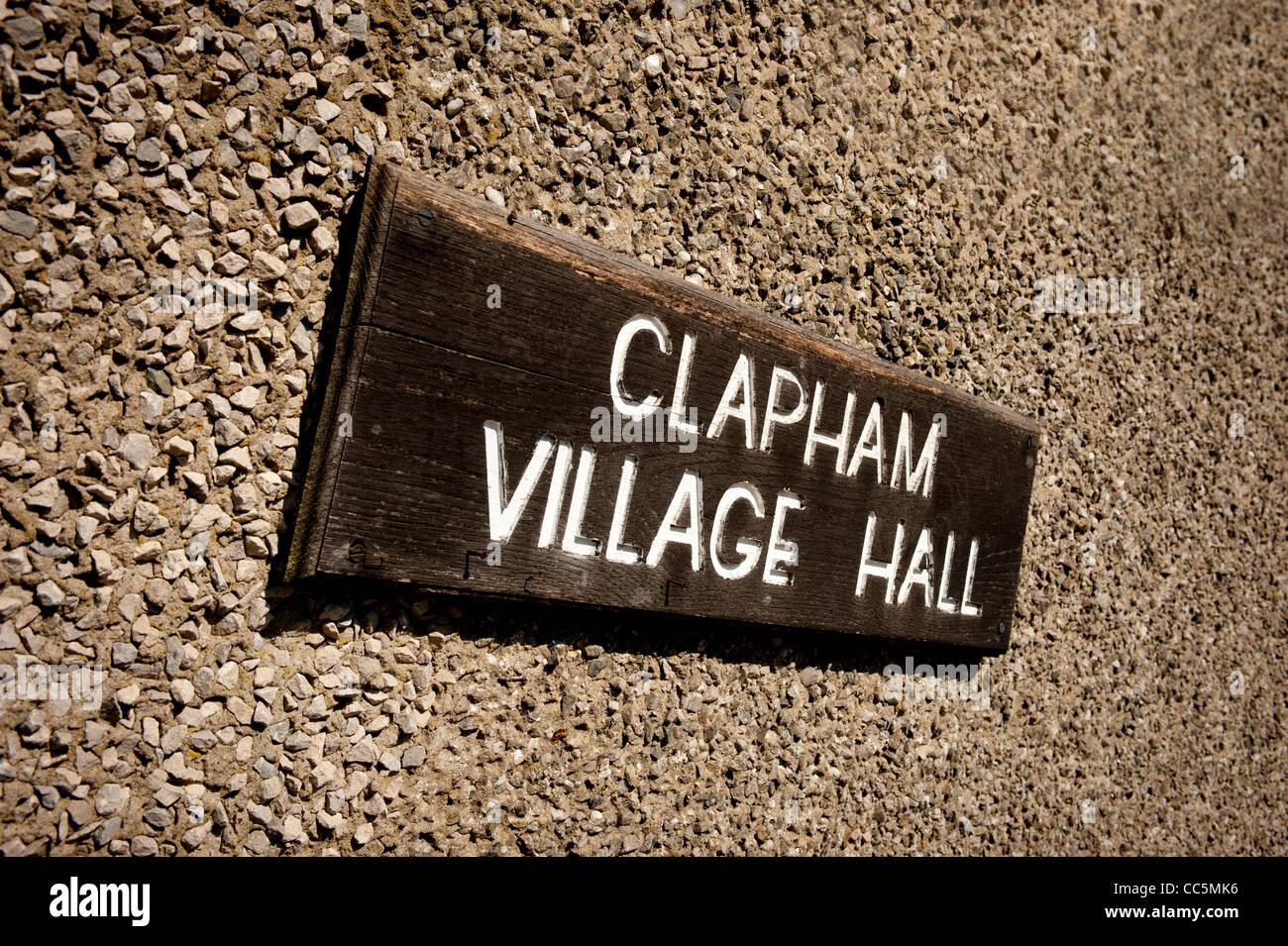 Clapham village hall sign - Stock Image