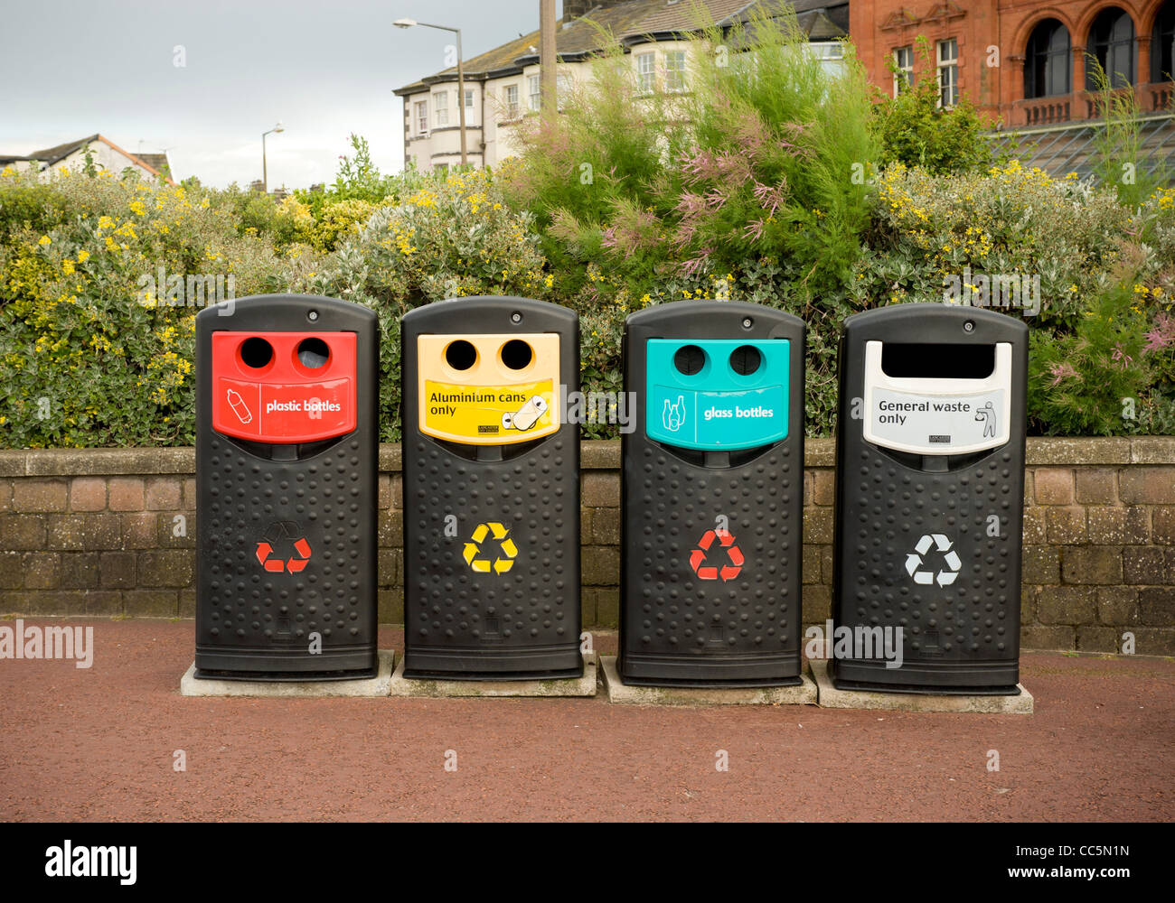 Recycling and general waste bins - Stock Image