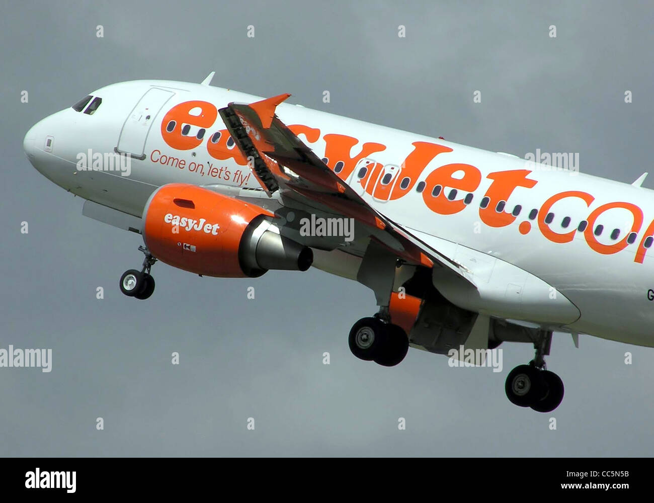 An easyJet Airbus A319 (registration unknown) takes off from Bristol International Airport, Bristol, England. - Stock Image