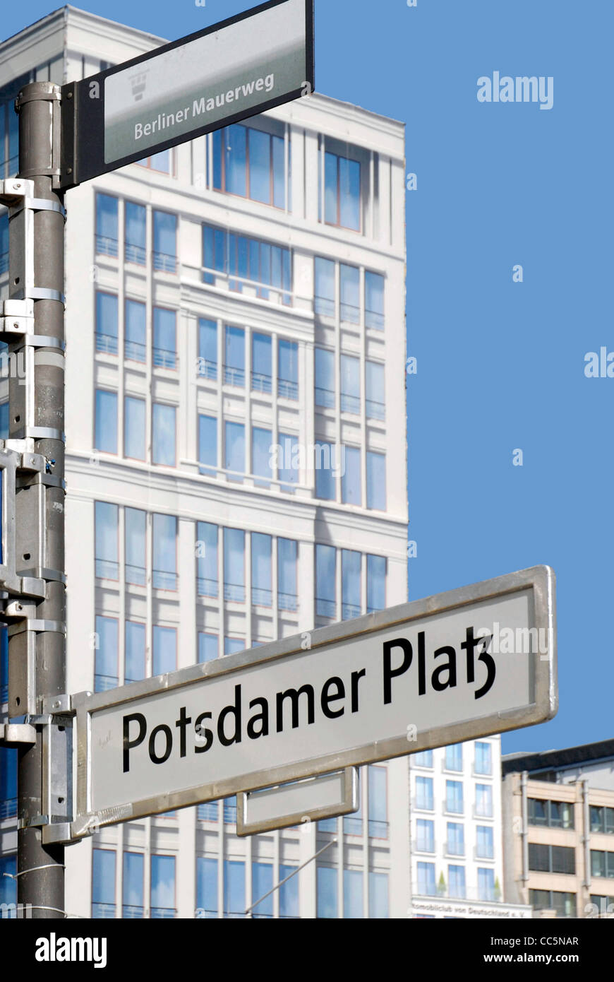 Street sign at the Potsdam place in Berlin. - Stock Image