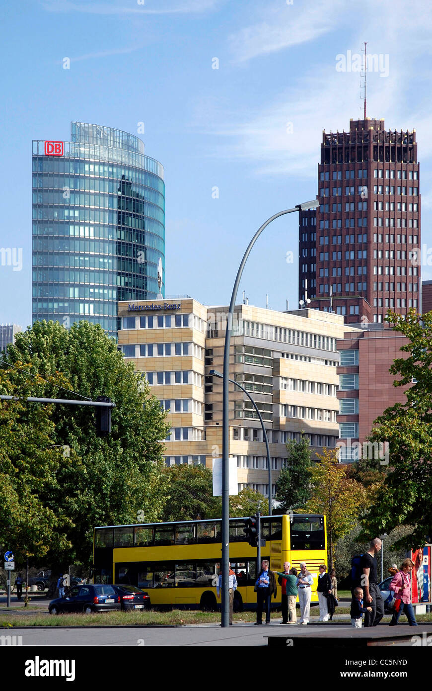 Skyscrapers at the Potsdam place in Berlin. - Stock Image