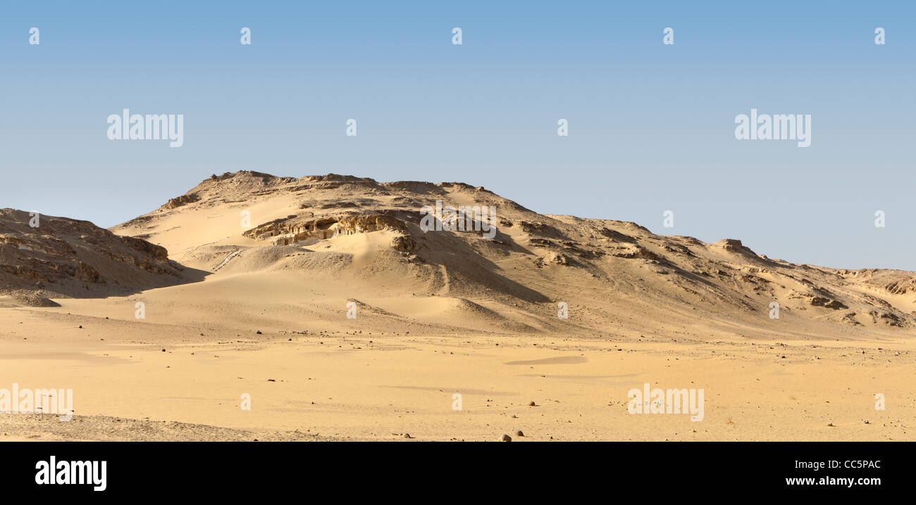 Panoramic shot of the view of  Meir tombs near the village of Meir or Mayr in the Nile Valley near Asyut, Middle - Stock Image