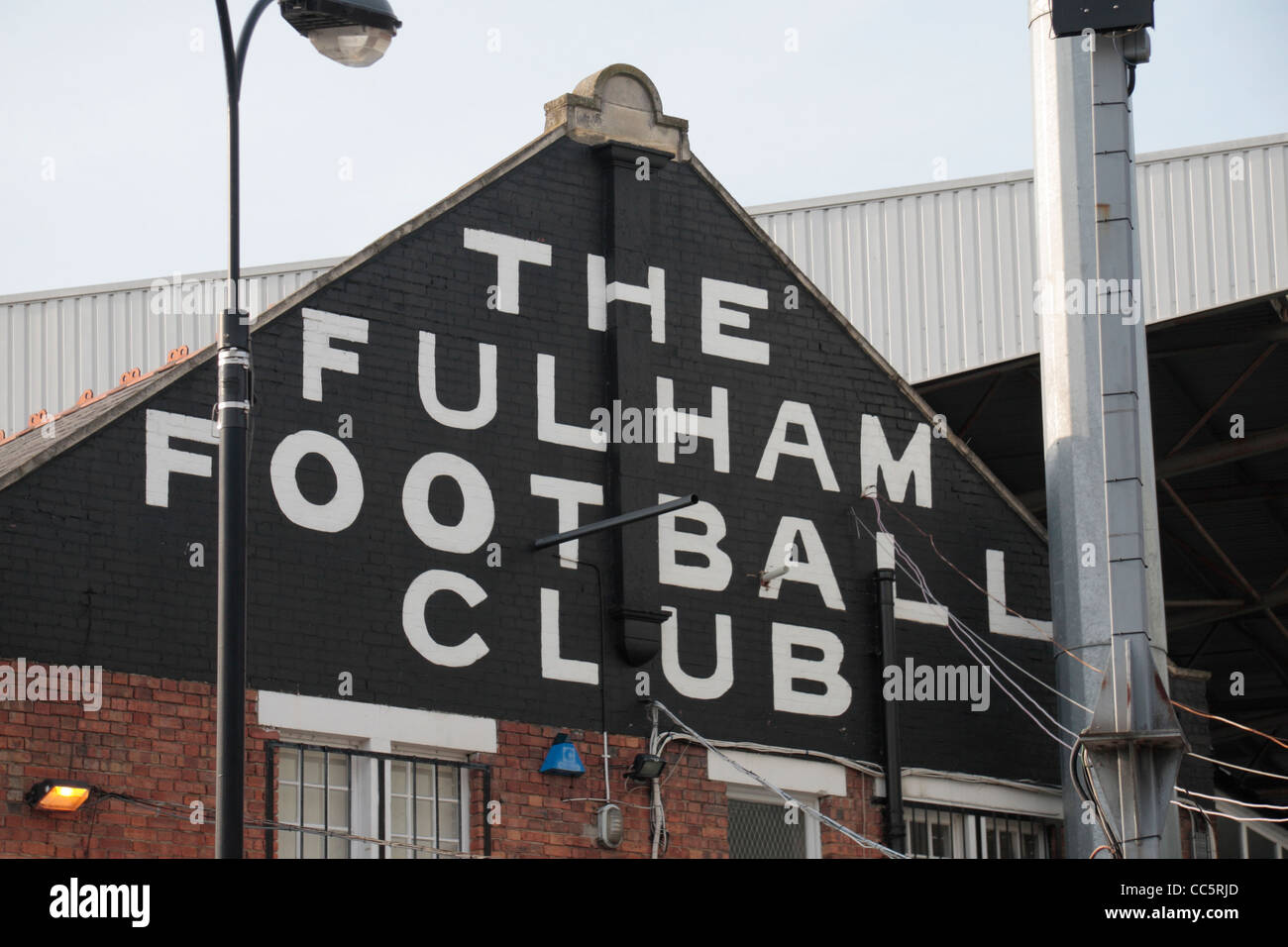The name of Fulham Football Club on Craven Cottage, home of Fulham Football Club, West London, UK. - Stock Image