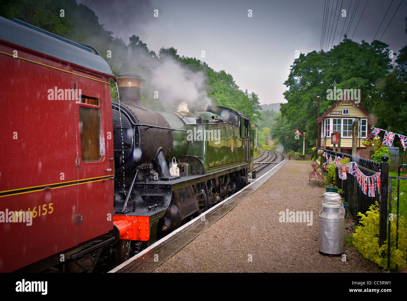 Consall station in the rain on the Churnet Valley railway. - Stock Image