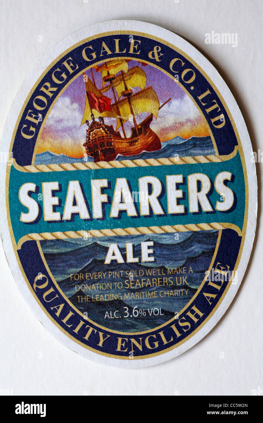 George Gale & Co Ltd Seafarers Ale Quality English Ale beermat isolated on white background Stock Photo