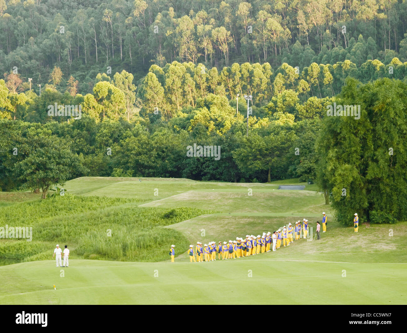 Caddie trainning in the golf course, Sofitel Dongguan Royal Lagoon, Dongguan, Guangdong , China - Stock Image