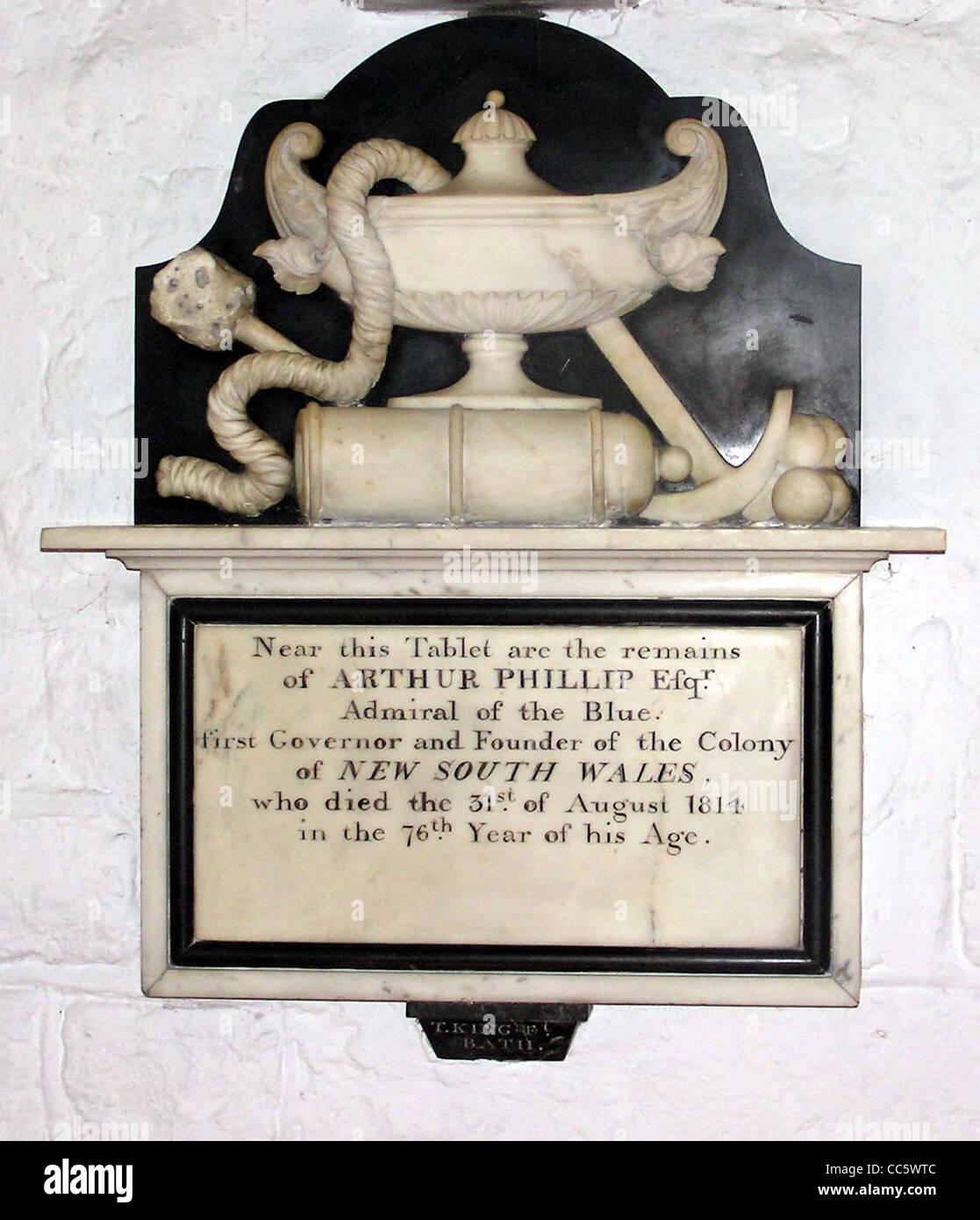he memorial to Arthur Phillip on the wall of the Australia Chapel in St Nicholas Church, Bathampton, near Bath, - Stock Image