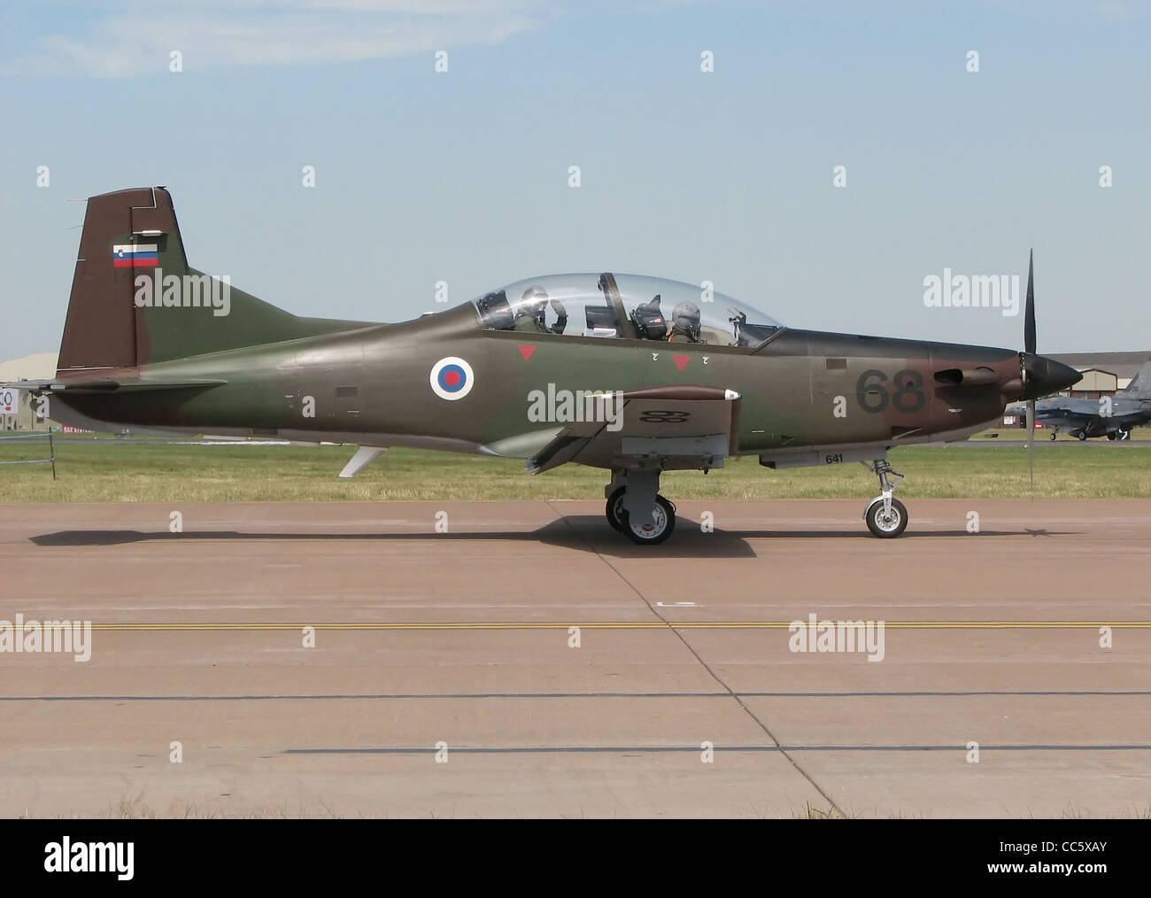 Pilatus PC-9M Hudournik (Swift) Advanced Trainer of the Slovenian Armed Forces (identifier L9-68) taxis for takeoff - Stock Image